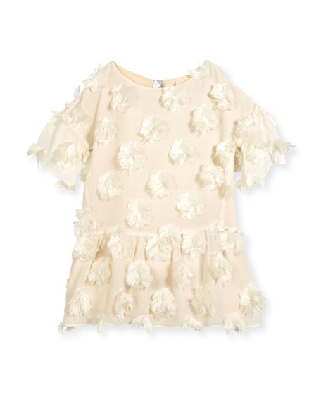 Anabella Half-Sleeve Faux-Feather Dress, Size 4-14