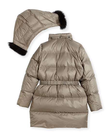 Consillia Hooded Fur-Trim Puffer Jacket, Brown, Size 4-14