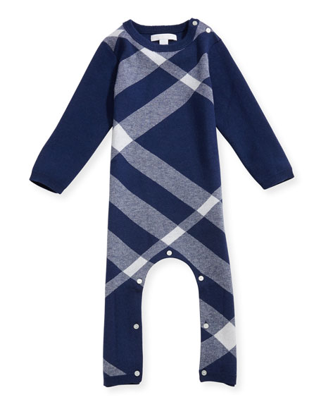 Ashley Mega Check Cashmere-Cotton Coverall, Blue, Size 3-18 Months