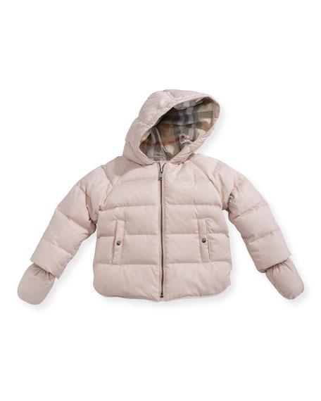 Burberry Rilla Hooded Raglan Puffer Jacket, Pink, Size