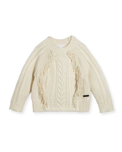 Natasia Cable-Knit Fringe Sweater, Size 4-14