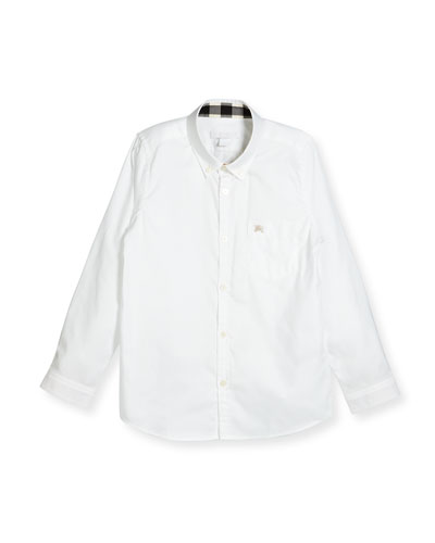 Fred Mini Long-Sleeve Shirt, White, Size 4-14