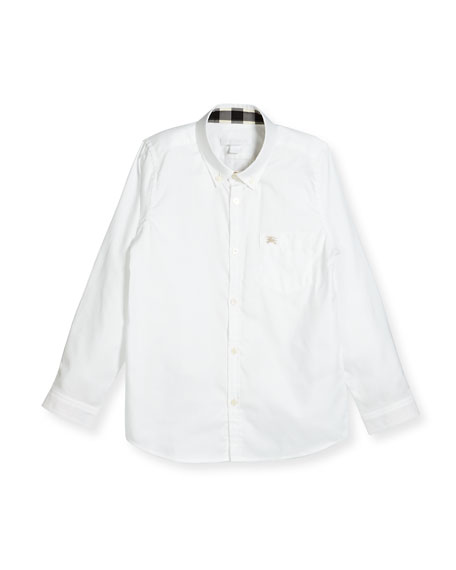 Burberry Fred Mini Long-Sleeve Shirt, White, Size 4-14