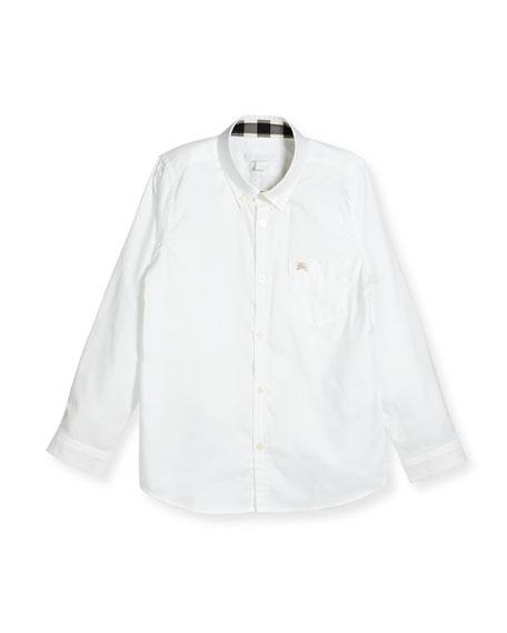 Burberry Fred Mini Long-Sleeve Shirt, White, Size 4-14