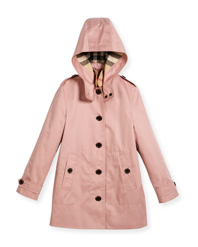 Geri Hooded Trenchcoat, Pink, Size 4-14