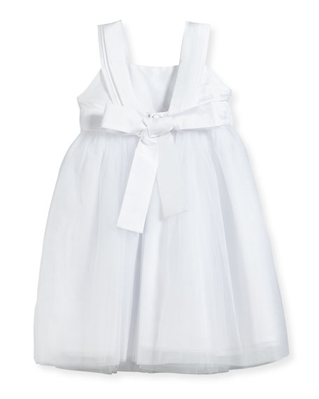 Venice Pleated Straps V-Back Dress, White, Size 2-3