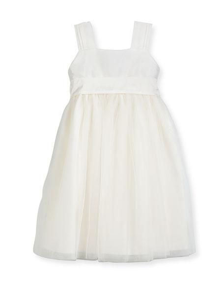 Venice Pleated Straps V-Back Dress, Ivory, Size 7-10