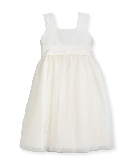 Venice Pleated Straps V-Back Dress, Ivory, Size 2-3