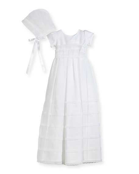 Delicate Organza Tiered Lace-Trim Christening Gown w/ Bonnet, White, Size 6-12 Months