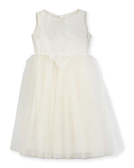Enchanting Lace-Trim Silk & Tulle Dress, Size 7-10