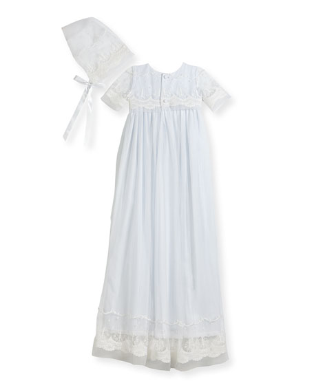 Blessing Embroidered Tulle Extra-Long Christening Gown w/ Bonnet, White, 6-12 Months