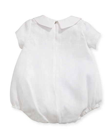 Joseph Linen Embroidered Bodysuit, White/Blue, Size 3-24 Months