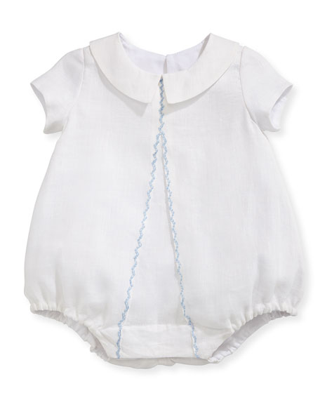 Joseph Linen Embroidered Bodysuit, White/Blue, Size 3-24 Months