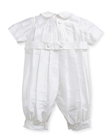 Boys' Tucks Silk Christening Playsuit, Size 3-24 Months