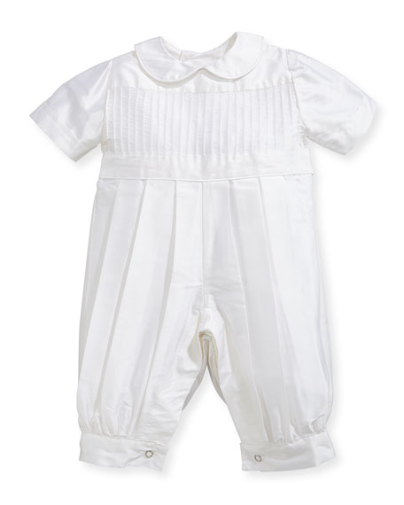 Boys' Tucks Silk Christening Playsuit, Size 3-24 Months