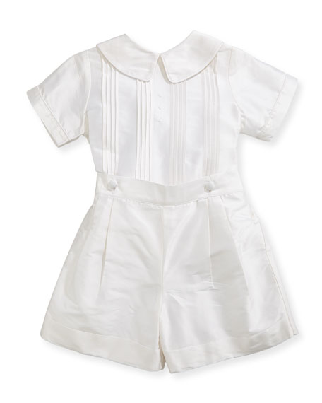 Boys' Sebastian Two-Piece Silk Ring Bearer Set, White, Size 12-24 Months