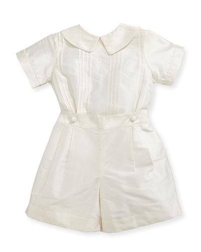 Boys' Sebastian Two-Piece Silk Ring Bearer Set, Ivory, Size 12-24 Months