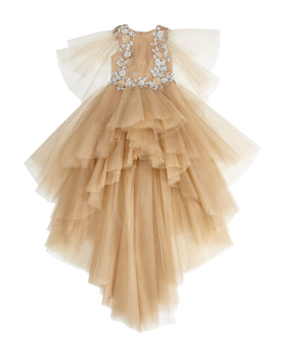 Au Revoir My Love Embroidered Tulle Gown, Size 14