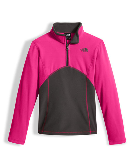 Glacier Two-Tone Fleece Half-Zip Pullover, Pink, Size XXS-XL