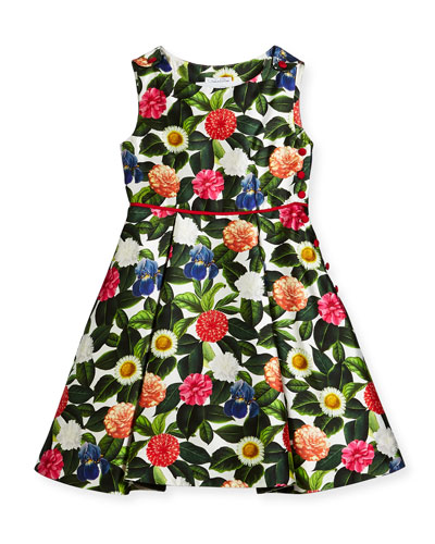 Mikado Flower Jungle Dress w/ Buttons & Pleats, Size 2-14