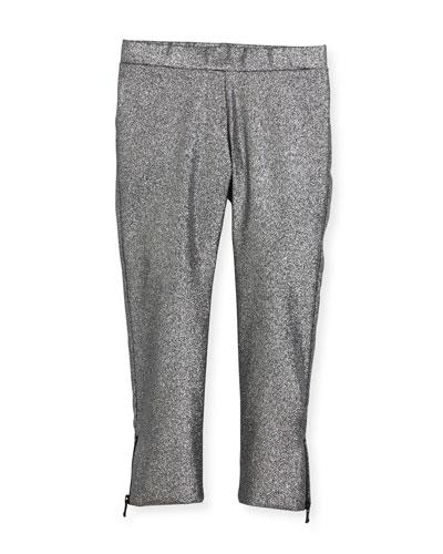Stretch Lurex Zip Leggings, Size 8-16