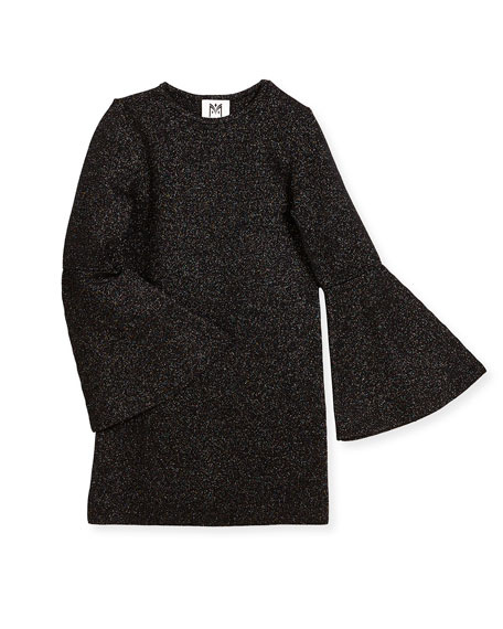 Milly Minis Bell-Sleeve Sparkle Shift Dress, Size 8-14