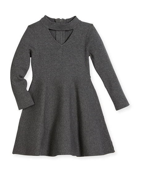 Milly Minis Cutout Long-Sleeve Flare Dress, Size 8-14