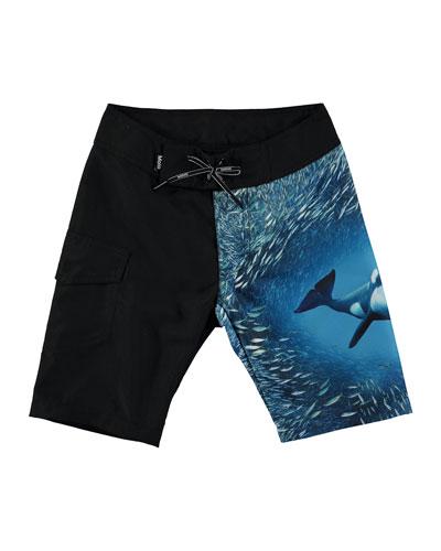 Nalvaro Orca Whale Board Shorts, Size 2T-6