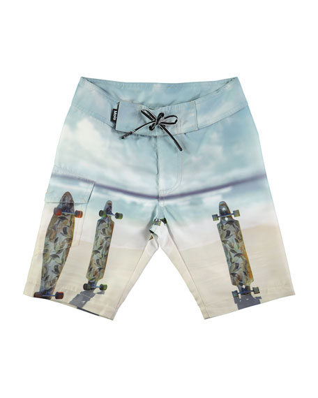 Nalvaro Skateboards Beach Board Shorts, Size 2T-10