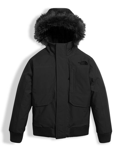 Gotham Down Hooded Jacket w/ Faux-Fur Trim, Black, Size XXS-XL