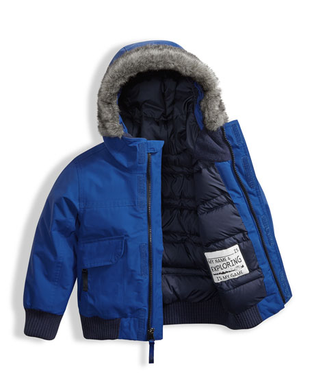 Gotham Down Hooded Jacket w/ Faux-Fur Trim, Blue, Size 2-4T