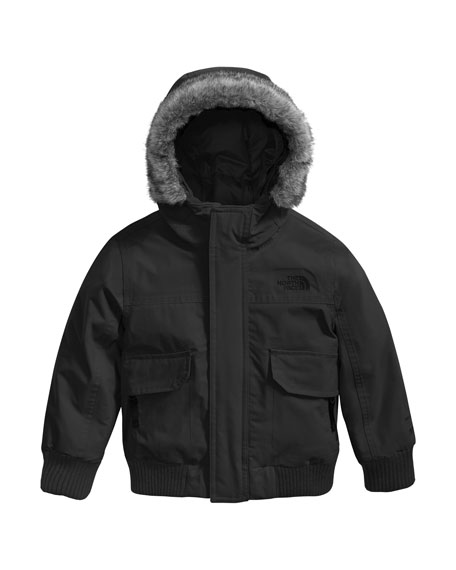 Gotham Down Hooded Jacket w/ Faux-Fur Trim, Black, Size 2-4T