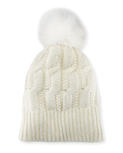 Girls' Seed-Stitch Beanie Hat w/ Fur Pompom, Ivory