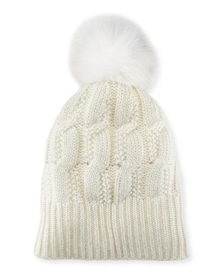 Girls' Seed-Stitch Beanie Hat w/ Fur Pompom, Ivory