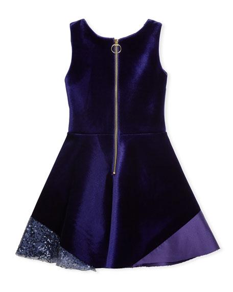Velvet Colorblock Sleeveless Dress, Size 7-16