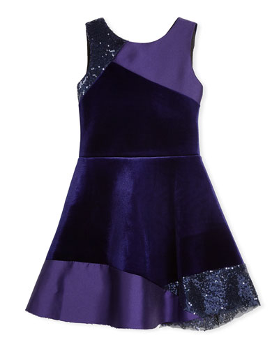 Velvet Colorblock Sleeveless Dress, Size 7-16