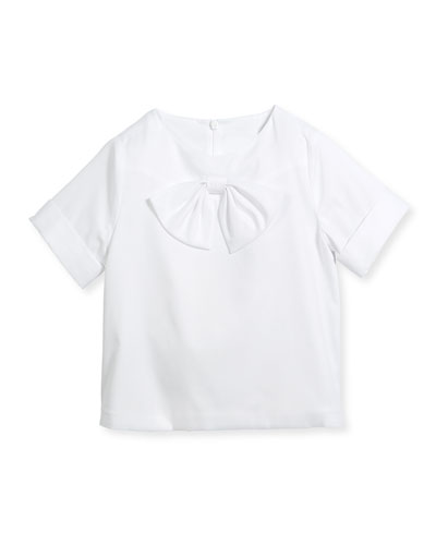Cotton New Bow Blouse, White, Size 4-14