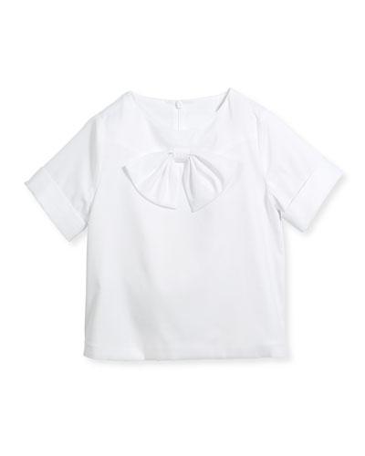 Cotton New Bow Blouse, White, Size 4-14