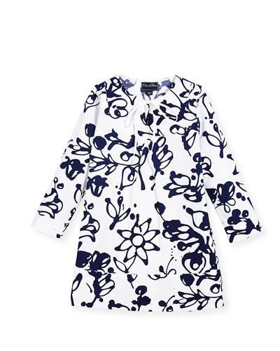 Cotton Scribbles-Print Caftan, White/Blue, Size 2-14