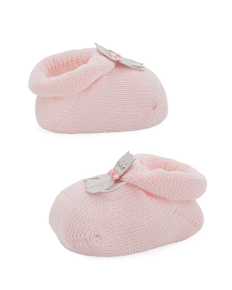 Kitty Cat Knit Booties, Light Pink, Baby