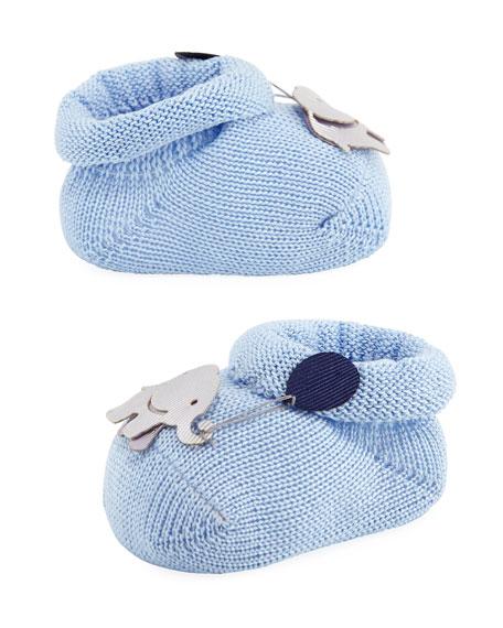 Elephant Booties, Light Blue, Infant