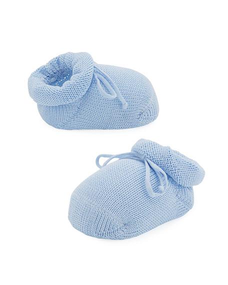 Basic Cotton Bootie w/ Bow, Light Blue, Infant