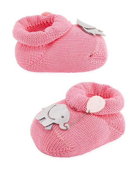 Elephant Booties, Light Blue, Infant