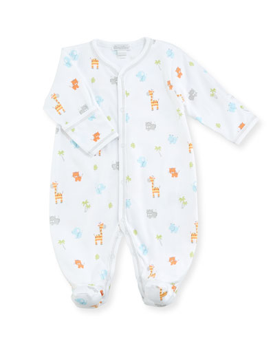 Safari Stroll Print Pima Footie Playsuit, Size Newborn-9M