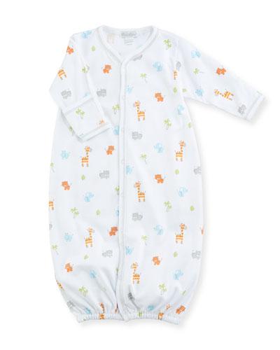 Safari Stroll Print Pima Convertible Gown, Size Newborn-S