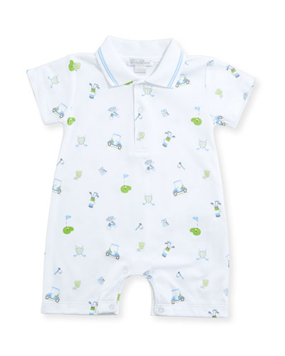 Daddy's Caddy Pima Collared Shortall, Size 3-24 Months