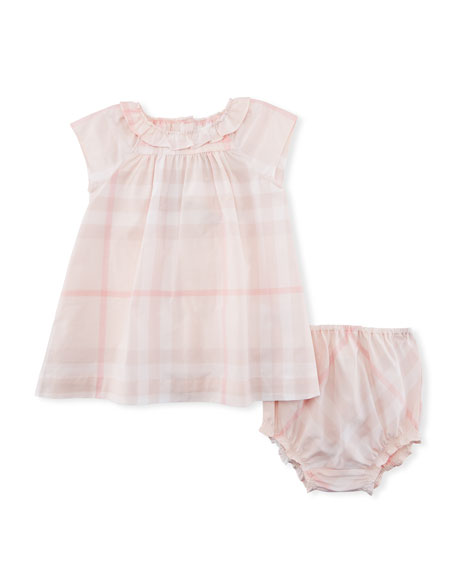 Check Emerald Dress w/ Bloomers, Size 3-24 Months