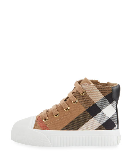 Belford Check High-Top Sneaker, Beige, Toddler Sizes 7-10