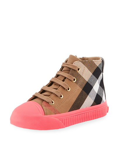 Belford Check High-Top Sneaker, Beige/Pink, Toddler Sizes 7-10