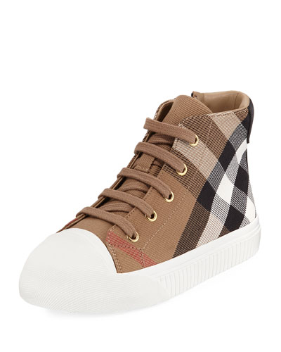 Belford Check High-Top Sneaker, Beige, Toddler/Youth Sizes 10T-4Y